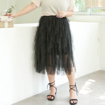 Women's large Summer 2021 black Three, four, five, six, seven, eight, nine skirt singleton  commute easy moderate Solid color lady polyester Three dimensional cutting miss38 30-34 years old 96% and above Medium length