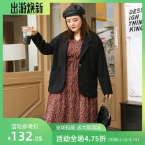 Women's large Spring 2021 Black, brown Three, four, five, six, seven, eight, nine suit singleton  commute easy moderate Cardigan Long sleeves Solid color Korean version Polo collar routine Polyester, others Three dimensional cutting routine miss38 25-29 years old pocket