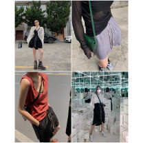 skirt Spring 2021 XS,S,M,L Black skirt, silver skirt, black shorts, silver shorts Short skirt street High waist Solid color Type H 25-29 years old More than 95% ACSENSE polyester fiber