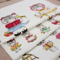 Fabric / fabric / handmade DIY fabric hemp Positioning (145 * 43cm) princess cat takes multiple photos without cutting apart Loose shear piece heart-shaped jacquard weave Other hand-made DIY fabrics Japan and South Korea DIY Jacquard case