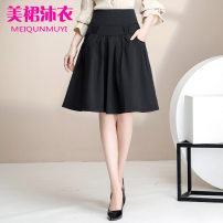 skirt Summer 2020 M,L,XL,2XL,3XL,4XL black Middle-skirt commute High waist A-line skirt Solid color Type A 25-29 years old 30% and below other other Simplicity 401g / m ^ 2 (inclusive) - 500g / m ^ 2 (inclusive)
