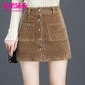 skirt Autumn of 2019 4XL,3XL,2XL,XL,L,M Purple, black, khaki Short skirt commute High waist A-line skirt Solid color Type A corduroy other pocket Korean version