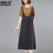 Dress Summer 2021 Grey suit brown yellow suit coffee suit grey one-piece strap skirt brown yellow one-piece strap skirt coffee one-piece strap skirt M L XL XXL Mid length dress Two piece set Short sleeve commute Crew neck Loose waist Solid color Socket A-line skirt routine 40-49 years old Type A hemp