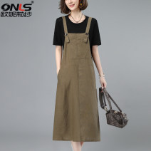 Dress Summer 2021 Khaki suit coffee suit Zhangqing suit Khaki one piece strap skirt coffee one piece strap skirt Zhangqing one piece strap skirt M L XL XXL Mid length dress Two piece set Short sleeve commute Crew neck High waist Solid color Socket A-line skirt routine 40-49 years old Type A hemp