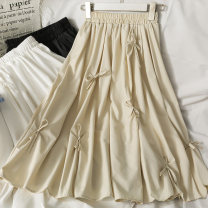 skirt Summer 2021 Average size Apricot, black, white Mid length dress Versatile High waist A-line skirt Solid color 18-24 years old A281506 30% and below other other