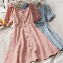 Dress Summer 2020 Average size Short skirt singleton  Short sleeve High waist Solid color Single breasted 18-24 years old 30% and below