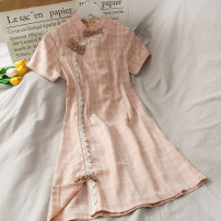 Dress Summer 2020 Pink S,M,L Mid length dress singleton  Short sleeve 18-24 years old A275126 30% and below