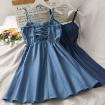 Dress Summer 2020 Light blue, dark blue Average size Short skirt singleton  Sleeveless High waist Solid color camisole 18-24 years old A275305 30% and below