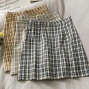 skirt Summer 2021 S,M,L,XL Apricot, yellow, blue Short skirt Versatile High waist Pleated skirt lattice Type A 18-24 years old A280958 30% and below