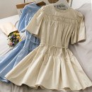 Dress Summer 2021 Blue, green, apricot, white Average size Short skirt singleton  Short sleeve Solid color A-line skirt 18-24 years old A281003 30% and below other