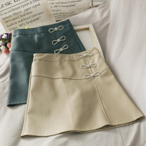 skirt Summer 2020 S,M,L,XL Apricot, purple, green, black Short skirt High waist Solid color 18-24 years old A276742 30% and below