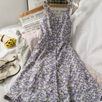 Dress Summer 2021 Green, purple, pink, blue on a white background Average size longuette singleton  Sleeveless High waist Broken flowers A-line skirt camisole 18-24 years old A281308 30% and below other