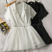 Dress Summer 2021 White, black M, L Short skirt singleton  Short sleeve High waist A-line skirt 18-24 years old A281112 30% and below