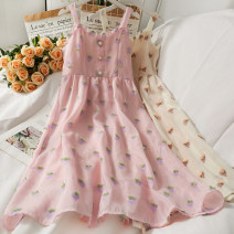 Dress Summer 2021 Pink, apricot M, L longuette singleton  Sleeveless commute High waist camisole 18-24 years old A281410 30% and below