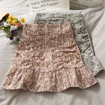 skirt Summer 2021 S,M,L,XL Purple, black, pink Short skirt commute High waist A-line skirt Broken flowers Type A 18-24 years old A281153 30% and below other other
