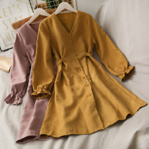 Dress Autumn 2020 Orange , yellow , claret , Apricot , green , blue , khaki , Pink Average size Mid length dress singleton  Long sleeves Solid color Single breasted 18-24 years old A277767 30% and below