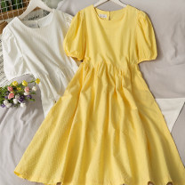 Dress Summer 2021 Yellow, white Average size Mid length dress singleton  Short sleeve High waist Solid color 18-24 years old A281147 30% and below