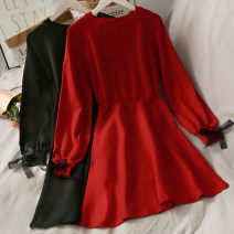 Dress Autumn 2020 Black, red Average size Short skirt singleton  Long sleeves Solid color Socket Big swing 18-24 years old A278305 30% and below
