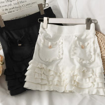 skirt Summer 2021 Average size White, black Short skirt Versatile High waist skirt Solid color Type A 18-24 years old A281432 30% and below other other