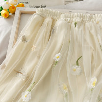 skirt Spring 2020 Average size Apricot flower, apricot feather Mid length dress High waist 18-24 years old A274051 30% and below