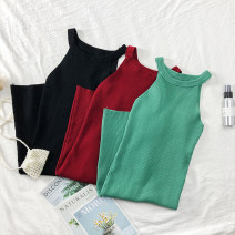 Dress Summer of 2019 Red, black, green Average size Short skirt middle-waisted Solid color One pace skirt 18-24 years old