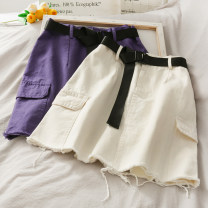 skirt Summer 2020 S,M,L,XL White, purple, green, black Short skirt High waist Solid color 18-24 years old A274278 30% and below