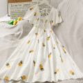 Dress Summer 2020 White cherry, white strawberry, white pineapple Average size longuette singleton  Short sleeve High waist 18-24 years old A274588 30% and below