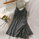 Dress Summer 2021 Gray, black Average size Short skirt V-neck middle-waisted Solid color Socket 18-24 years old A281033 30% and below