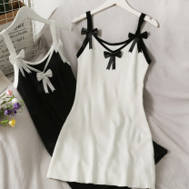 Dress Summer 2021 Black, white, grey Average size Middle-skirt Long sleeves Sweet middle-waisted Solid color Socket One pace skirt camisole 18-24 years old A280786 30% and below