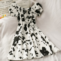 Dress Summer 2020 white Average size Short skirt singleton  Short sleeve High waist 18-24 years old 30% and below