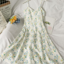 Dress Summer 2021 white M, L Mid length dress singleton  Sleeveless V-neck High waist Broken flowers camisole 18-24 years old A281750 30% and below