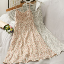 Dress Summer 2021 Light green, Khaki Average size Mid length dress singleton  Sleeveless V-neck A-line skirt camisole 18-24 years old A280680 30% and below other other