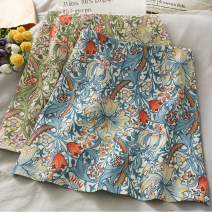 skirt Summer 2021 S,M,L,XL Blue, green Short skirt Versatile High waist A-line skirt Broken flowers 18-24 years old 30% and below other other