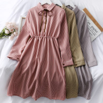 Dress Autumn of 2019 Yellow, pink, black, blue, card Average size Mid length dress singleton  Long sleeves Polo collar Elastic waist lattice Single breasted A-line skirt 18-24 years old A24100