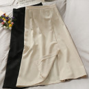 skirt Summer 2021 Average size Apricot, black Middle-skirt Versatile High waist skirt Solid color 18-24 years old 30% and below