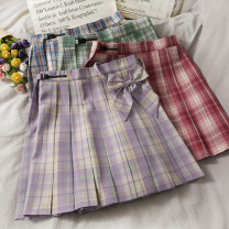 skirt Autumn 2020 S,M,L,XL Red, light green, purple, red blue grid, dark green, light pink purple, white blue grid, gray blue grid, gray white grid Short skirt High waist Pleated skirt 18-24 years old A279921 30% and below other other