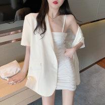 Dress Summer 2021 White suspender skirt 9200, black suspender skirt 9200, suit jacket 8429 Average size 31% (inclusive) - 50% (inclusive) cotton