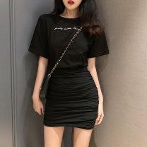 skirt Spring 2020 Average size Black, grey, pink Short skirt High waist Irregular Solid color