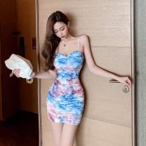 Dress Summer 2021 Picture color S,M,L Short skirt singleton  Sleeveless commute V-neck High waist other Socket One pace skirt routine Korean version tie-dyed 655# polyester fiber