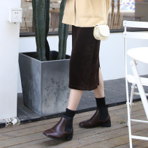 skirt Winter 2020 S,M,L Black, brown longuette commute High waist A-line skirt Solid color Type A 30% and below other other Retro