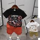 T-shirt White single piece, black single piece, orange shorts, khaki shorts, white top + Khaki Shorts, black top + orange shorts Other / other 90cm (7), 100cm (9), 110cm (11), 120cm (13), 130cm (15) neutral Crew neck Korean version cotton Solid color