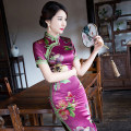 cheongsam Spring 2021 Short sleeve long cheongsam Retro High slit daily Oblique lapel Decor Over 35 years old Piping Other / other silk 96% and above