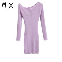 Dress Autumn 2020 Green, camel, black, white, purple S, M Short skirt singleton  Long sleeves commute Crew neck middle-waisted Solid color Socket routine 25-29 years old knitting