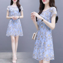 Dress Summer 2021 blue S,M,L,XL,2XL Mid length dress singleton  Short sleeve commute Crew neck middle-waisted Decor zipper A-line skirt routine Type A Chen Mo family Korean version Embroidery, Gouhua, hollowing out, splicing, three-dimensional decoration, wave, zipper, resin fixation, 3D other
