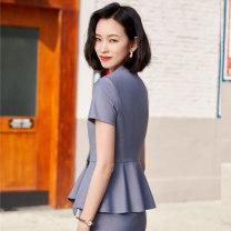 Professional dress suit S,M,L,XL,XXL,XXXL,4XL,5XL Grey suit + skirt, black suit + skirt, Navy + group Summer 2021 Short sleeve loose coat Suit skirt 25-35 years old