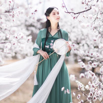 Dress Summer 2020 Leaf green S,M,L longuette singleton  Long sleeves commute V-neck Loose waist other Socket Big swing routine Others 25-29 years old Type X Cotton and linen Retro Embroidery, lace up, stitching AQL1591 More than 95% Chiffon polyester fiber