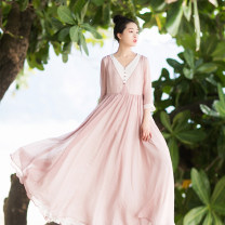 Dress Summer of 2018 Mengzi M, L longuette singleton  Nine point sleeve commute V-neck middle-waisted Decor Socket Big swing routine Others 25-29 years old Type X Cotton and linen Retro Pleating, stitching, three-dimensional decoration, zipper AQL625 More than 95% Chiffon polyester fiber