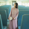 Dress Autumn of 2018 Retro powder M, L longuette singleton  Long sleeves commute stand collar Loose waist Solid color Socket A-line skirt routine Others 25-29 years old Type A Cotton and linen Retro Pleating, lacing, stitching, asymmetry, mesh AQL1128 More than 95% Chiffon polyester fiber