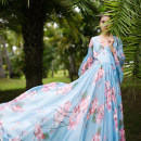 Dress Summer of 2018 Blue lake M, L longuette singleton  Nine point sleeve commute V-neck middle-waisted other Socket Big swing pagoda sleeve Others 25-29 years old Type A Cotton and linen literature Ruffles, folds, tridimensional decoration, zippers, printing AQL561 More than 95% Chiffon