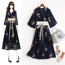 Women's large Spring 2021, summer 2021, autumn 2021 Navy Blue Large XL, 2XL, 3XL, 4XL, 5XL Dress other other V-neck other Three dimensional cutting Lanmufang 30-34 years old other